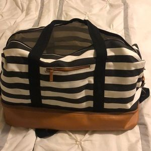 Navy white and brown striped duffel bag